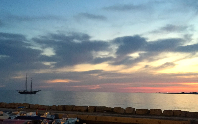 Pescoluse vista dal porto di Torre Vado
